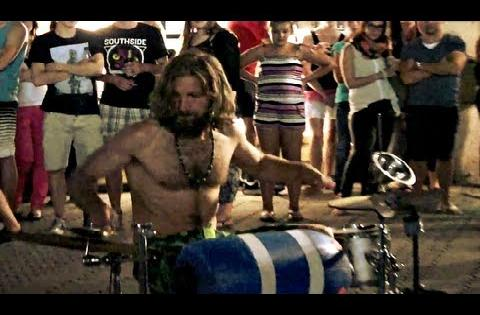 Amazing Street Drummer Performance with Bare Chest
